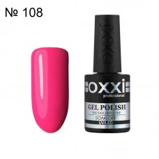Гель лак OXXI № 108 ярко розовая неоновая эмаль, 10 мл.