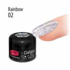 Гель с крупной серебряной голографической блёсткой PNB Galaxy Gel 02 Rainbow