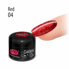 Гель с крупной красной блёсткой PNB Galaxy Gel 04 Red