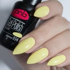 Гель-лак PNB светло желтый 8 мл Lemony 034