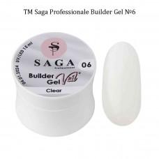 Гель для наращивания ногтей прозрачный BUILDER GEL SAGA №006, 15мл.