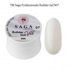 Гель для наращивания ногтей белый BUILDER GEL SAGA №007, 15мл.