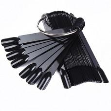 Палитра черные типсы на кольце веер , 50шт