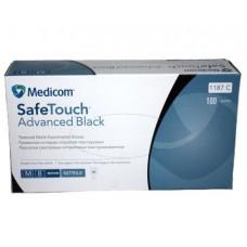 Перчатки нитриловые неопудренные черные прочные Medicom 100 шт (50 пар) размер М