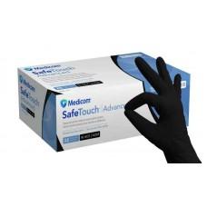 Перчатки нитриловые неопудренные черные прочные Medicom 100 шт (50 пар) размер XS