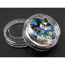 Брокат для дизайна ногтей сине-золотой микс №В-06