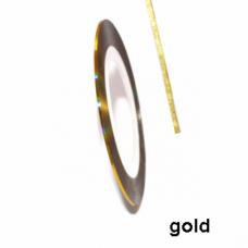 Самоклеящаяся лента для дизайна ногтей золотая Gold 1мм