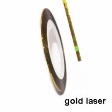 Липкая лента для ногтей золотая голографик Laser gold 1мм