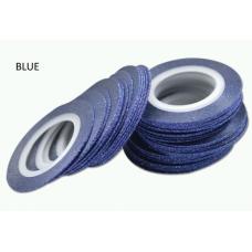 Лента бархатная для дизайна ногтей синяя BLUE, 1 мм