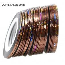 Липкая лента для ногтей голографическая КОФЕ Laser Coffee 1мм