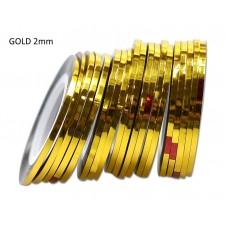 Липкая лента для дизайна ногтей золотая Gold 2мм