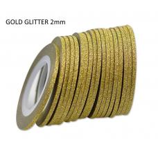 Лента бархатная для дизайна ногтей золото, GOLD glitter, 2 мм