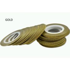 Лента бархатная для дизайна ногтей золото, GOLD, 1 мм