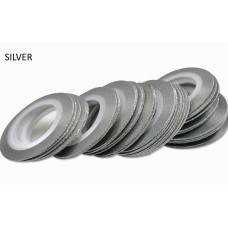 Лента бархатная для дизайна ногтей серебро, SILVER, 1 мм