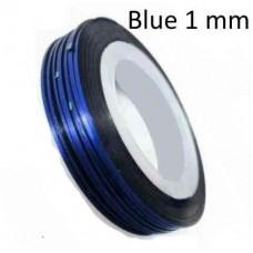 Липкая лента для дизайна ногтей синяя Blue 1мм