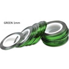 Липкая лента для дизайна ногтей зеленая Green 1мм