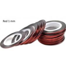 Липкая лента для дизайна ногтей красная Bright red 1мм