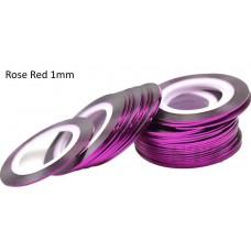 Липкая лента для дизайна ногтей малиновая Rose Red 1мм