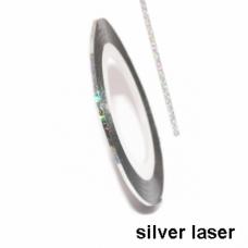 Липкая лента для ногтей серебро голографик Silver laser 1мм