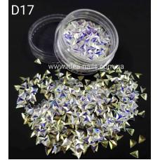 """Чешуя дракона (3Д треугольники) """"зеркальный блеск"""" для дизайна ногтей, D17"""