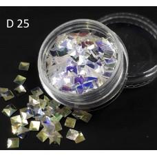 """Чешуя дракона (3Д квадраты) """"диско"""" для дизайна ногтей, D25"""