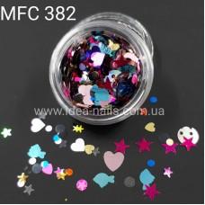 Пайетка микс для декора ногтей сердечки, звёзды и др., MFC-382