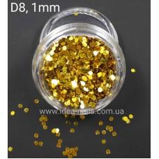 Пайетка кружочки для дизайна ногтей золото,1 мм, D8