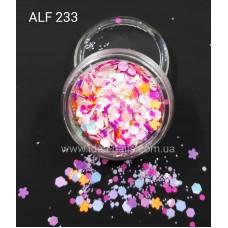 Пайетка цветной микс для дизайна ногтей звёздочки, шестигранники, кружочки, ALF233