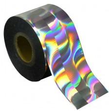 Фольга для литья отрывная серебро голографик волна 1м., F13