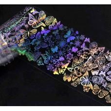 """Фольга для дизайна ногтей """"бабочки"""", 50см/4см, F53"""